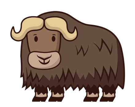 Happy Musk Ox Cartoon