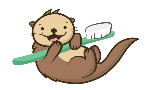Cartoon Otter with a toothbrush