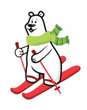Cartoon Polar Bear skiing